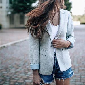 Grey Herringbone Blazer Size 2